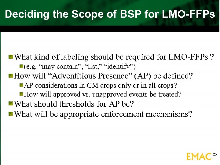 Deciding the Scope of BSP for LMO-FFPs What kind of labeling should be required