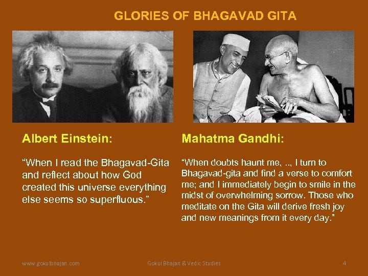 "GLORIES OF BHAGAVAD GITA Albert Einstein: Mahatma Gandhi: ""When I read the Bhagavad-Gita and"