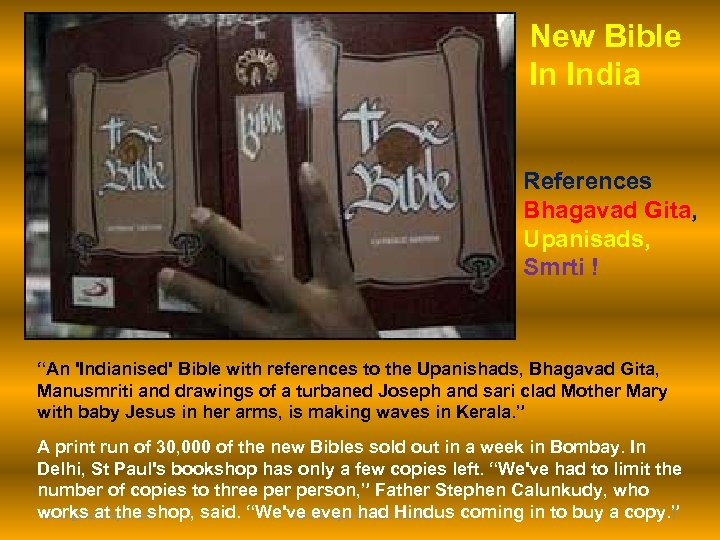 """New Bible In India References Bhagavad Gita, Upanisads, Smrti ! """"An 'Indianised' Bible with"""