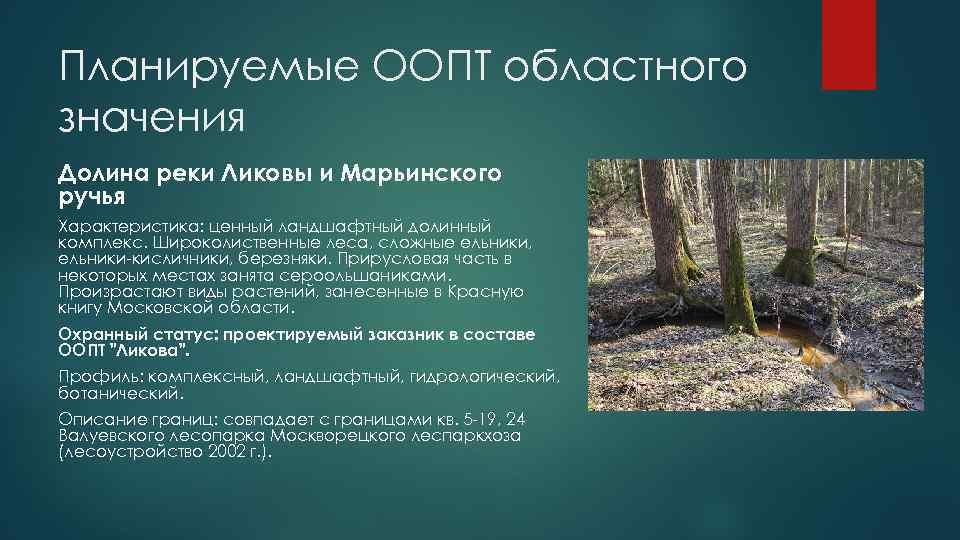 Планируемые ООПТ областного значения Долина реки Ликовы и Марьинского ручья Характеристика: ценный ландшафтный долинный