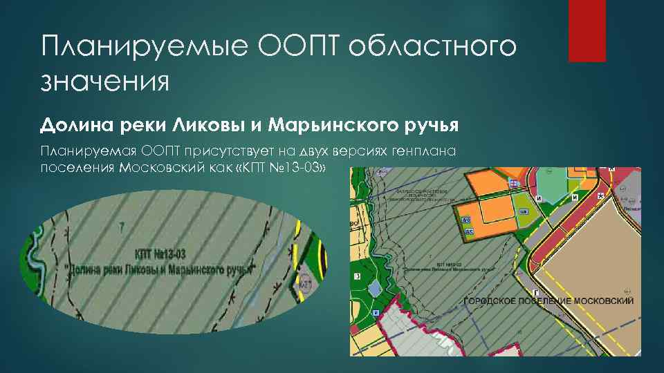 Планируемые ООПТ областного значения Долина реки Ликовы и Марьинского ручья Планируемая ООПТ присутствует на