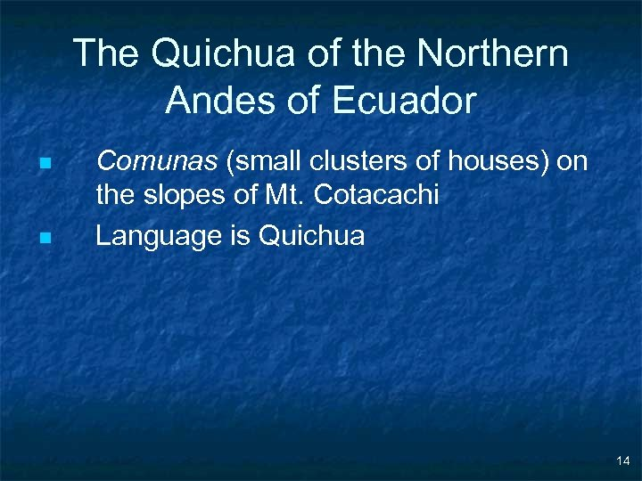 The Quichua of the Northern Andes of Ecuador n n Comunas (small clusters of