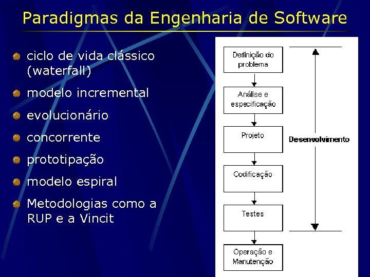 Paradigmas da Engenharia de Software ciclo de vida clássico (waterfall) modelo incremental evolucionário concorrente