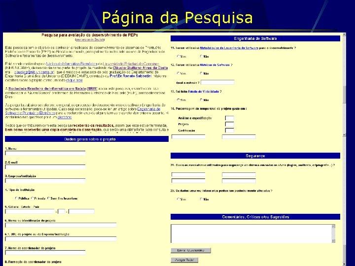 Página da Pesquisa