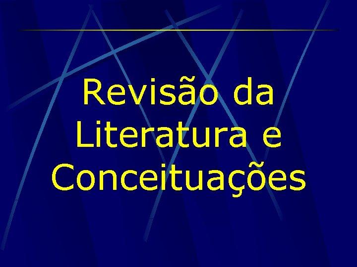 Revisão da Literatura e Conceituações