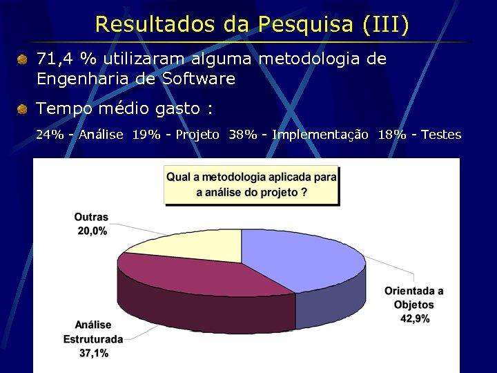 Resultados da Pesquisa (III) 71, 4 % utilizaram alguma metodologia de Engenharia de Software
