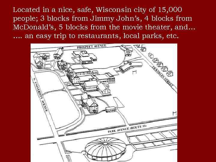 Located in a nice, safe, Wisconsin city of 15, 000 people; 3 blocks from