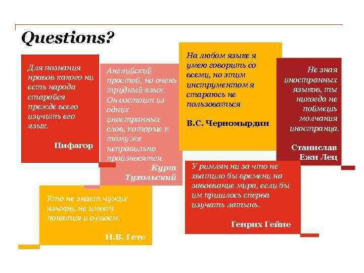 Questions? На любом языке я умею говорить со Для познания Не зная Английский -