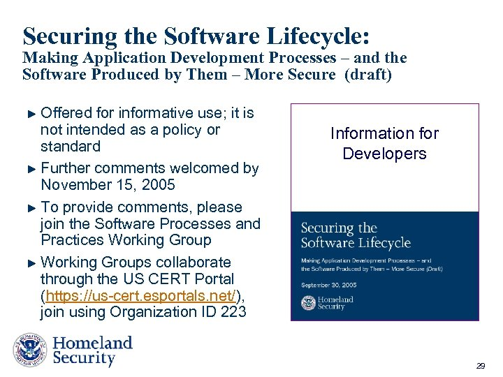 Securing the Software Lifecycle: Making Application Development Processes – and the Software Produced by