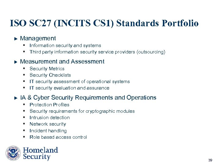 ISO SC 27 (INCITS CS 1) Standards Portfolio Management § Information security and systems