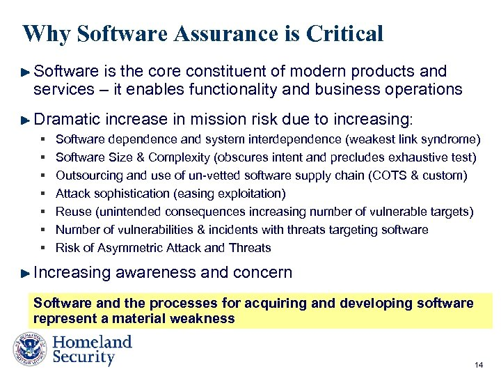 Why Software Assurance is Critical Software is the core constituent of modern products and