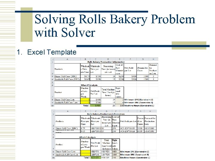 Solving Rolls Bakery Problem with Solver 1. Excel Template