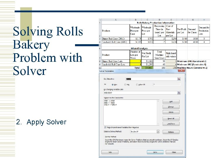 Solving Rolls Bakery Problem with Solver 2. Apply Solver