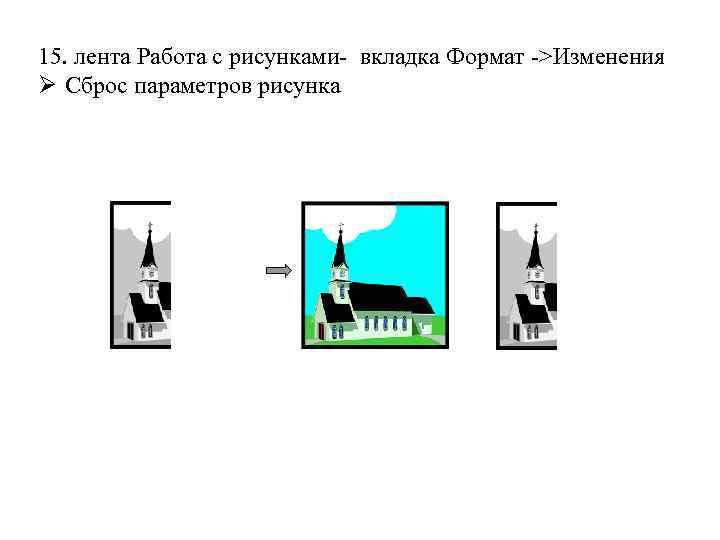 15. лента Работа с рисунками- вкладка Формат ->Изменения Ø Сброс параметров рисунка