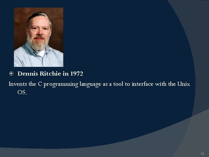 Dennis Ritchie in 1972 Invents the C programming language as a tool to interface