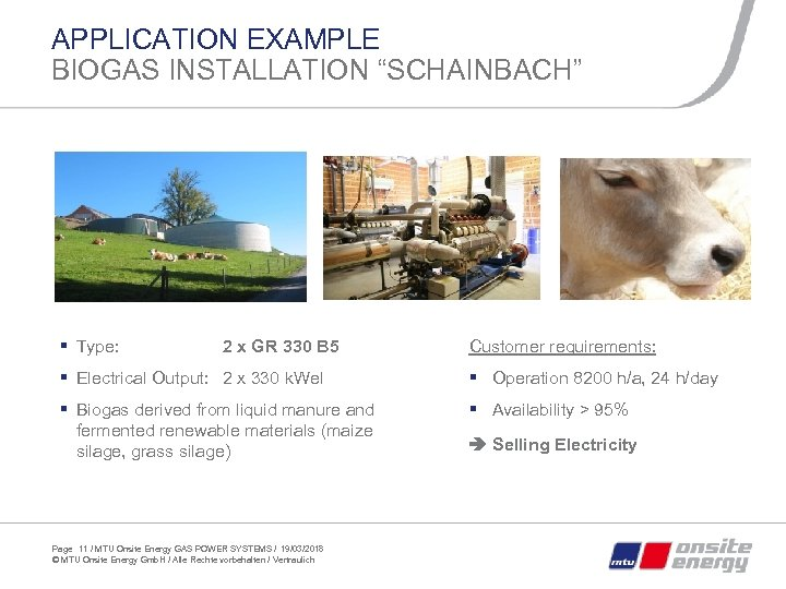 "APPLICATION EXAMPLE BIOGAS INSTALLATION ""SCHAINBACH"" § Type: 2 x GR 330 B 5 Customer"