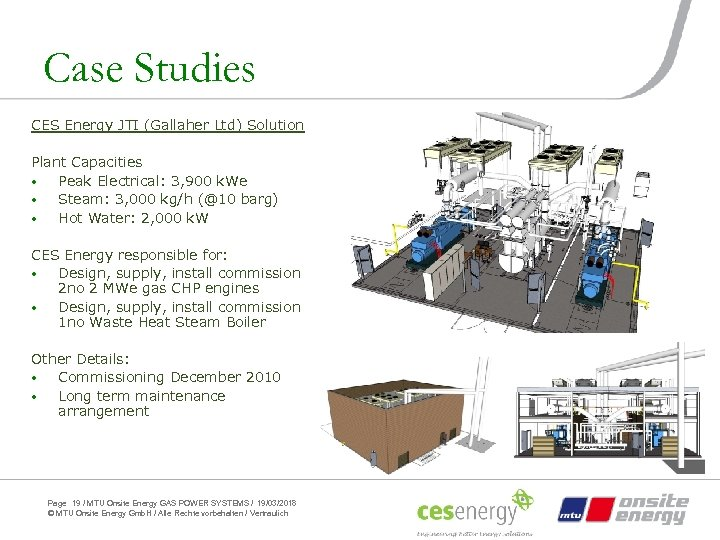 Case Studies CES Energy JTI (Gallaher Ltd) Solution Plant Capacities • Peak Electrical: 3,