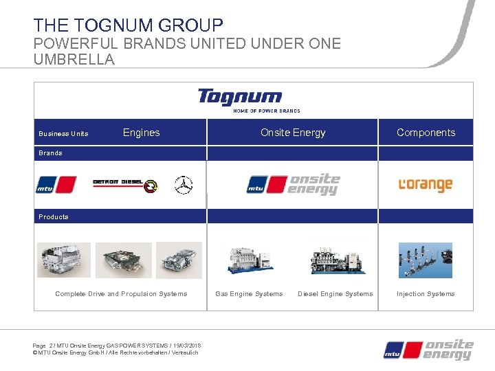 THE TOGNUM GROUP POWERFUL BRANDS UNITED UNDER ONE UMBRELLA Business Units Engines Onsite Energy
