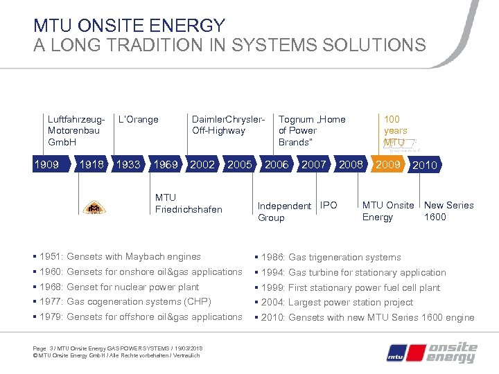 MTU ONSITE ENERGY A LONG TRADITION IN SYSTEMS SOLUTIONS Luftfahrzeug. Motorenbau Gmb. H 1909