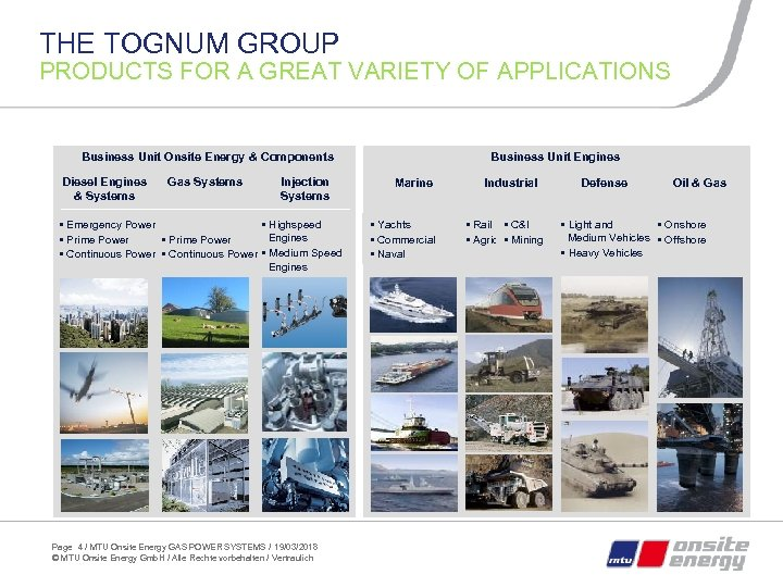 THE TOGNUM GROUP PRODUCTS FOR A GREAT VARIETY OF APPLICATIONS Business Unit Onsite Energy