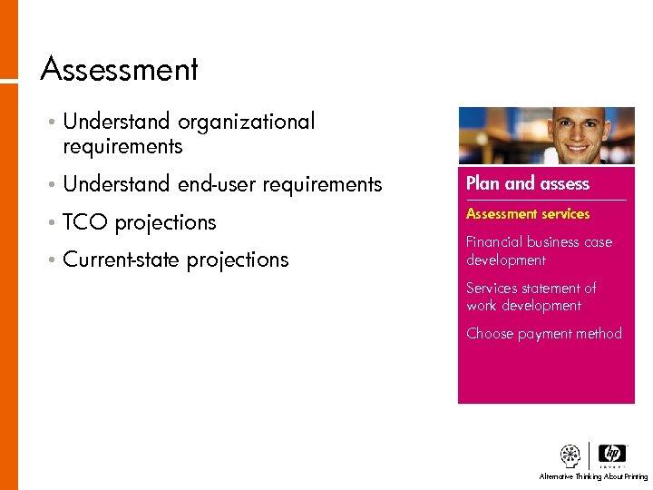 Assessment • Understand organizational requirements • Understand end-user requirements Plan and assess • TCO