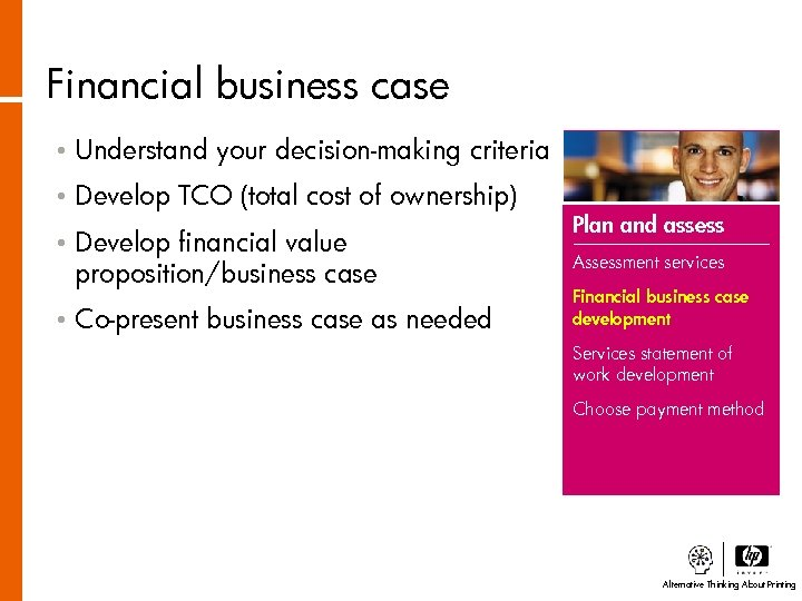 Financial business case • Understand your decision-making criteria • Develop TCO (total cost of