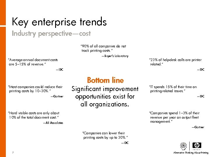"""Key enterprise trends Industry perspective—cost """" 90% of all companies do not track printing"""