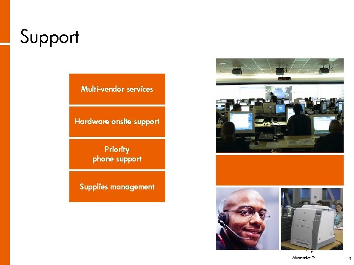 Support Multi-vendor services Hardware onsite support Priority phone support Supplies management Alternative Thinking About