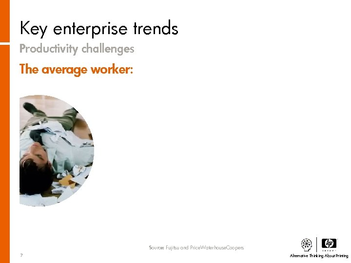 Key enterprise trends Productivity challenges The average worker: Source: Fujitsu and Price. Waterhouse. Coopers