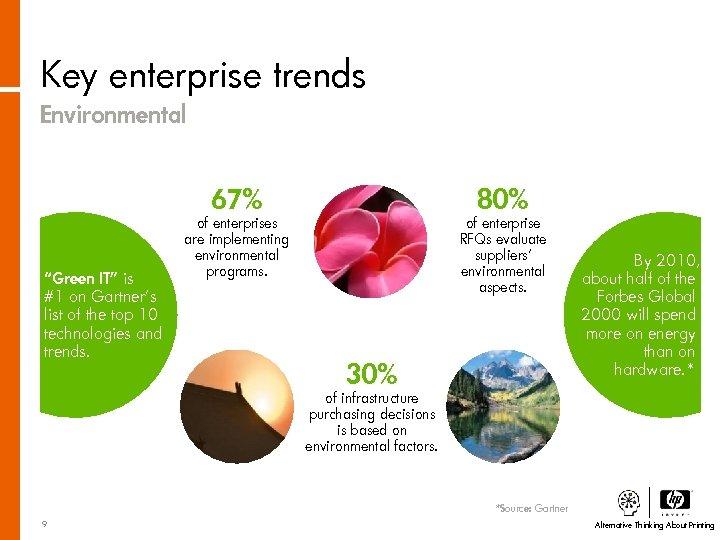"Key enterprise trends Environmental 67% ""Green IT"" is #1 on Gartner's list of the"