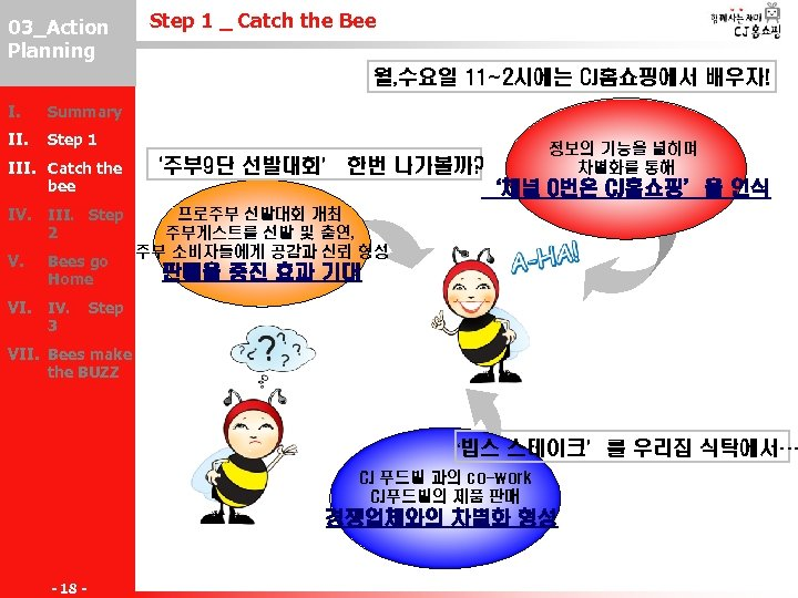 03_Action III-2 Planning Step 1 _ Catch the Bee 월, 수요일 11~2시에는 CJ홈쇼핑에서 배우자!