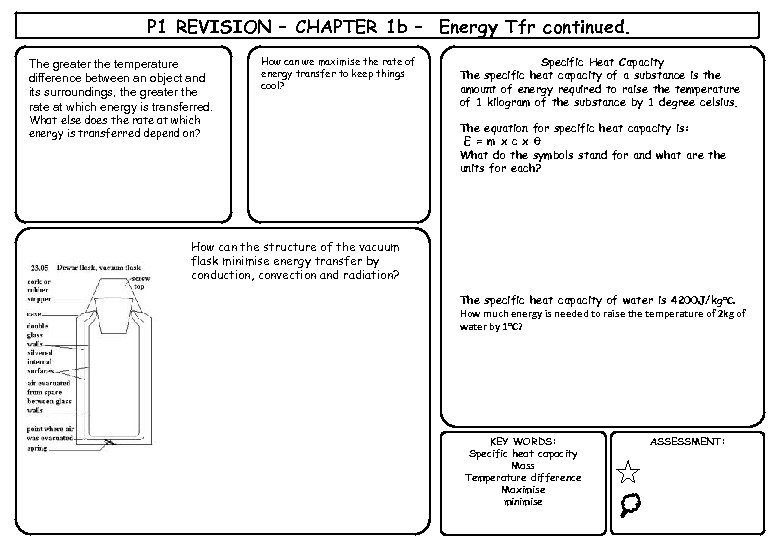 P 1 REVISION – CHAPTER 1 b – Energy Tfr continued. The greater the