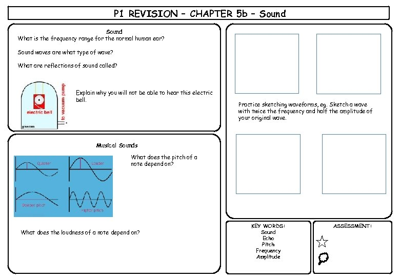 P 1 REVISION – CHAPTER 5 b – Sound What is the frequency range