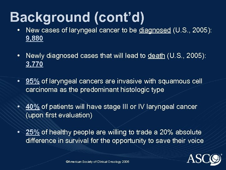 Background (cont'd) • New cases of laryngeal cancer to be diagnosed (U. S. ,