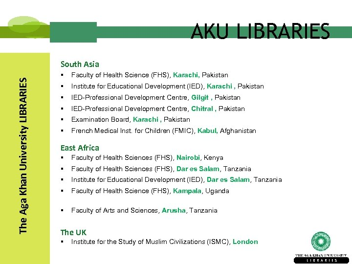 AKU LIBRARIES The Aga Khan University LIBRARIES South Asia § Faculty of Health Science