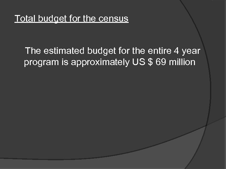 Total budget for the census The estimated budget for the entire 4 year program