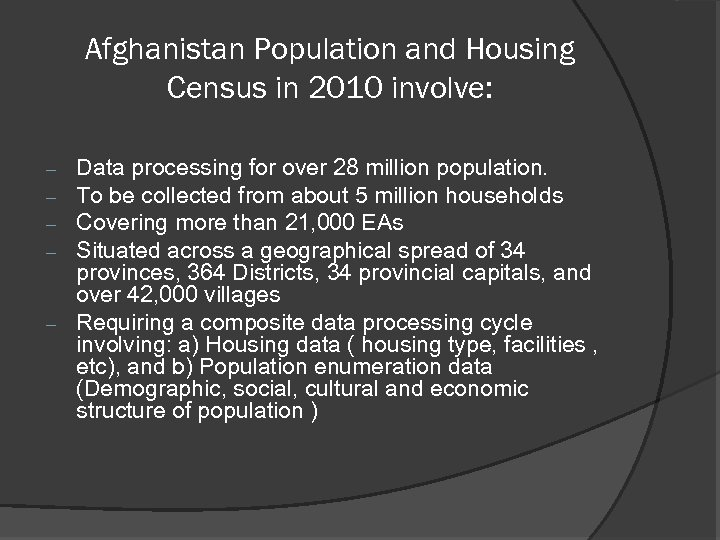 Afghanistan Population and Housing Census in 2010 involve: Data processing for over 28 million