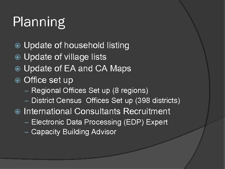 Planning Update of household listing Update of village lists Update of EA and CA