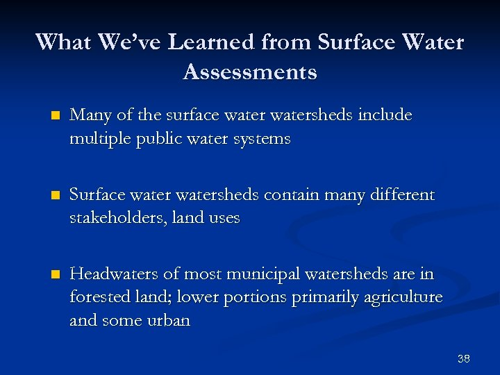 What We've Learned from Surface Water Assessments n Many of the surface watersheds include