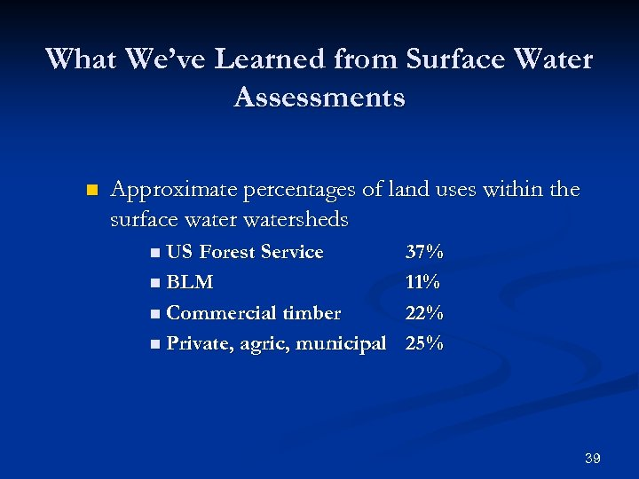 What We've Learned from Surface Water Assessments n Approximate percentages of land uses within