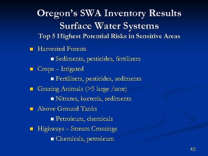 Oregon's SWA Inventory Results Surface Water Systems Top 5 Highest Potential Risks in Sensitive