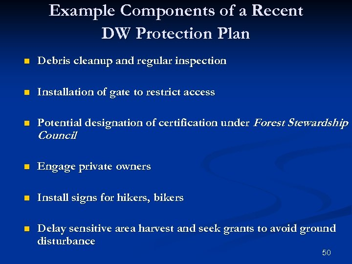 Example Components of a Recent DW Protection Plan n Debris cleanup and regular inspection