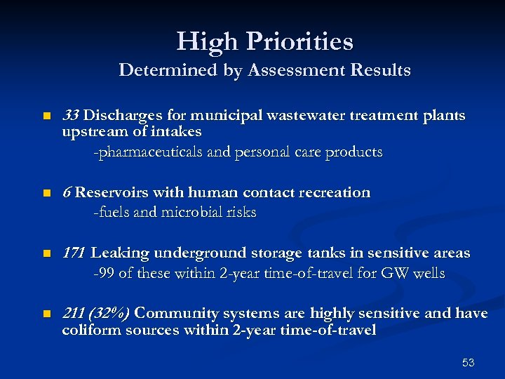 High Priorities Determined by Assessment Results n 33 Discharges for municipal wastewater treatment plants