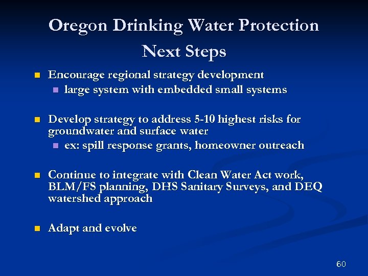 Oregon Drinking Water Protection Next Steps n Encourage regional strategy development n large system