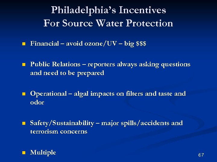 Philadelphia's Incentives For Source Water Protection n Financial – avoid ozone/UV – big $$$