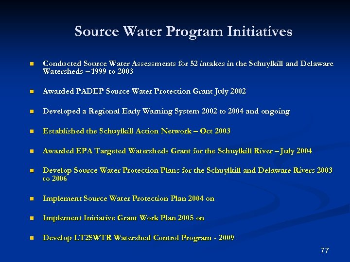Source Water Program Initiatives n Conducted Source Water Assessments for 52 intakes in the