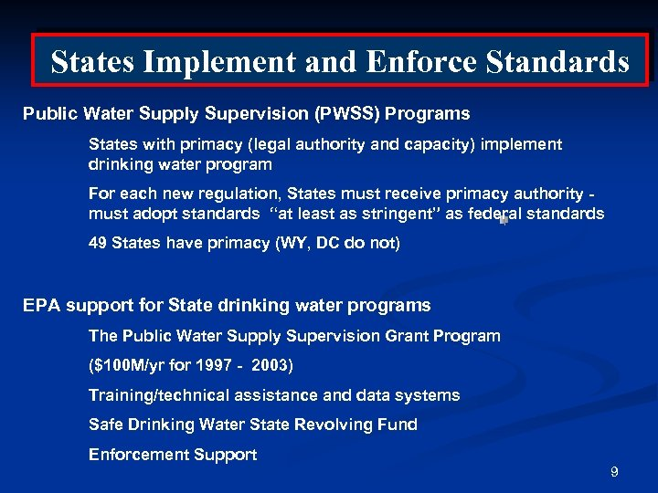 States Implement and Enforce Standards Public Water Supply Supervision (PWSS) Programs States with primacy