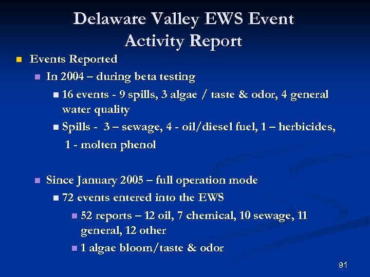 Delaware Valley EWS Event Activity Report n Events Reported n In 2004 – during