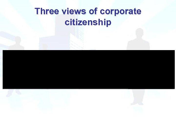 Three views of corporate citizenship