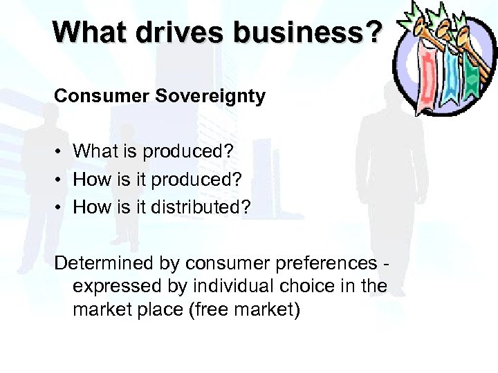 What drives business? Consumer Sovereignty • What is produced? • How is it distributed?